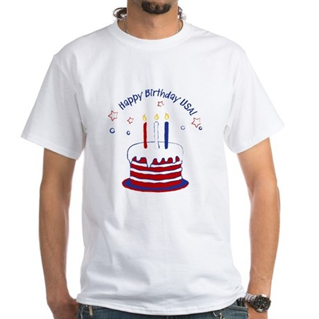 Happy Birthday USA White T-Shirt