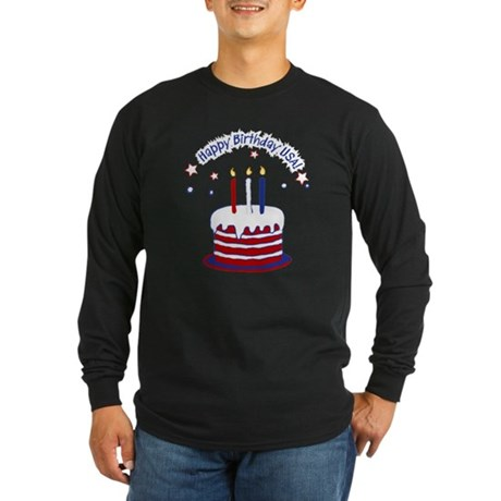 Happy Birthday USA Long Sleeve Dark T-Shirt