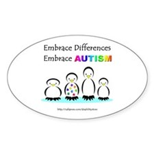 Autism Penguins Oval Decal