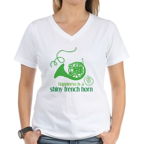 Shiny French Horn Women's V-Neck T-Shirt