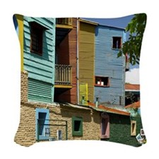 Buildings in La Boca, Buenos A Woven Throw Pillow