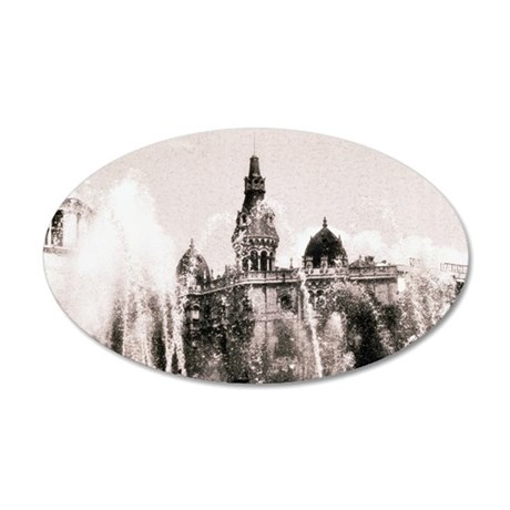 Fountain and Building in Mad 35x21 Oval Wall Decal