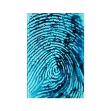 Fingerprint on blue background Rectangle Magnet