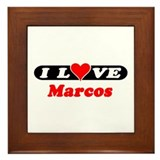 I Love Marcos Framed Tile