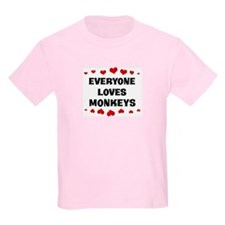 Loves: Monkeys Kids T-Shirt