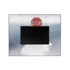 Stop sign on a melting iceberg. Picture Frame