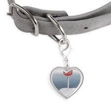 Stop sign on a melting iceberg Small Heart Pet Tag