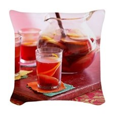Sangria with red wine and frui Woven Throw Pillow