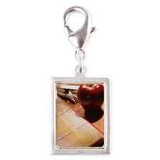 Attendance list, apple, hole Silver Portrait Charm