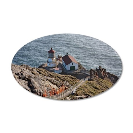 Point Reyes lighthouse on Ca 35x21 Oval Wall Decal
