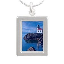 Lime Kilm Lighthouse Silver Portrait Necklace
