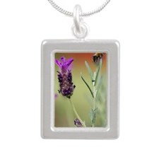 Bumble Bees and Lavendar Silver Portrait Necklace