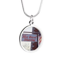 Sign for Hot Towel Shaving b Silver Round Necklace