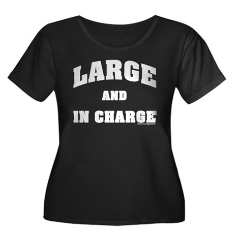 Large In Charge Women's Plus Size Scoop Neck Dark