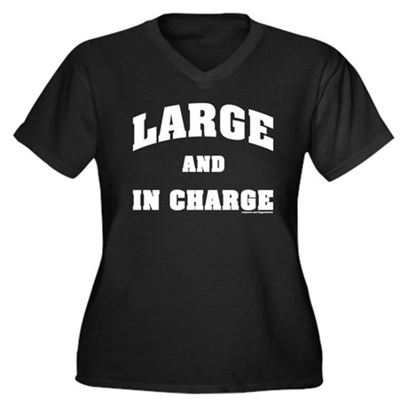 Large In Charge Women's Plus Size V-Neck Dark T-Sh