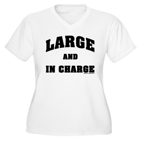 Large In Charge Women's Plus Size V-Neck T-Shirt
