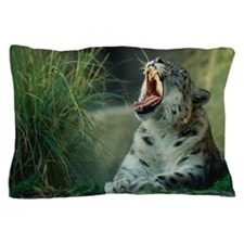 SNOW LEOPARD YAWNING Pillow Case