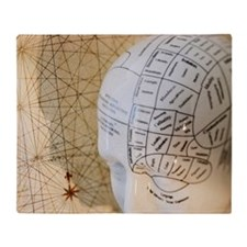 Close up of Phrenology head diagram Throw Blanket