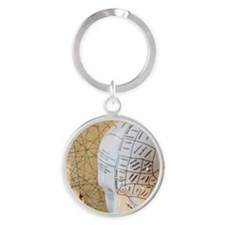 Close up of Phrenology head diagram Round Keychain