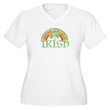 Vintage Irish Rainbow Women's Plus Size V-Neck Tee