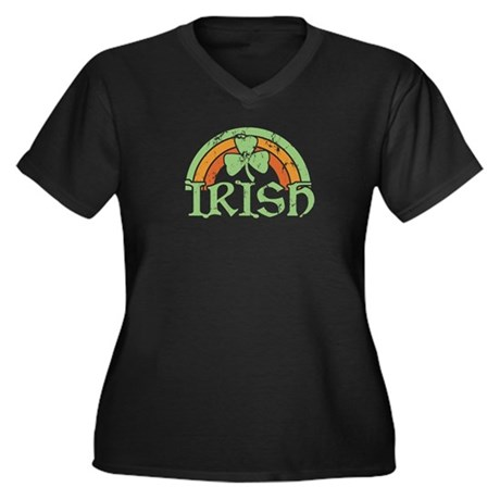 Vintage Irish Rainbow Women's Plus V-Neck Dark T