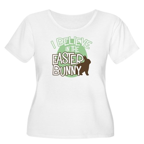 Belive Easter Bunny Women's Plus Size Scoop Neck T