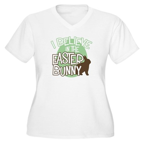 Belive Easter Bunny Women's Plus Size V-Neck Tee