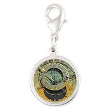 Prague Astronomy Clock Silver Round Charm