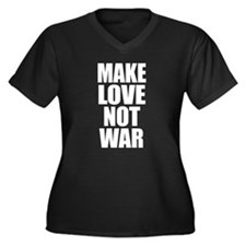 Make Love, Not War! Women's Plus Size V-Neck Dark