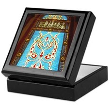 Stained glass window in mosque Keepsake Box