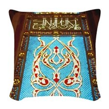 Stained glass window in mosque Woven Throw Pillow