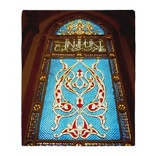 Stained glass window in mosque Throw Blanket