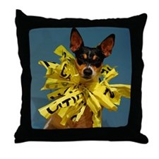 Small dog rat terrier with collar of  Throw Pillow