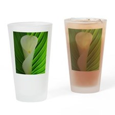 White calla lily with leaf Drinking Glass