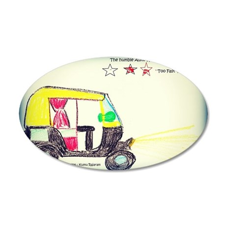 The Indian Autorickshaw 35x21 Oval Wall Decal