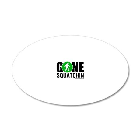 Gone Squatchin Black/Green L 20x12 Oval Wall Decal