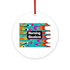 nursing student funky 2 horiz Round Ornament
