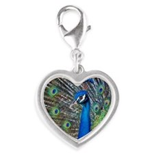 Close-up of brilliant blue pea Silver Heart Charm