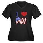 Patriotic Love Women's Plus Size V-Neck Dark T-Shi