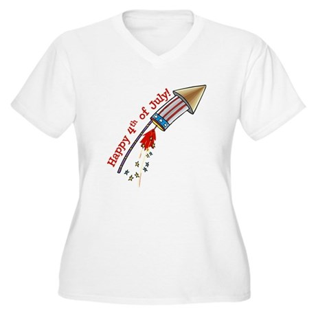 4th of July Rocket Women's Plus Size V-Neck T-Shir