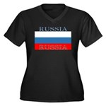 Russia Russian Flag Women's Plus Size V-Neck Dark