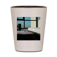 View of Cityscape seen from the Window. Shot Glass