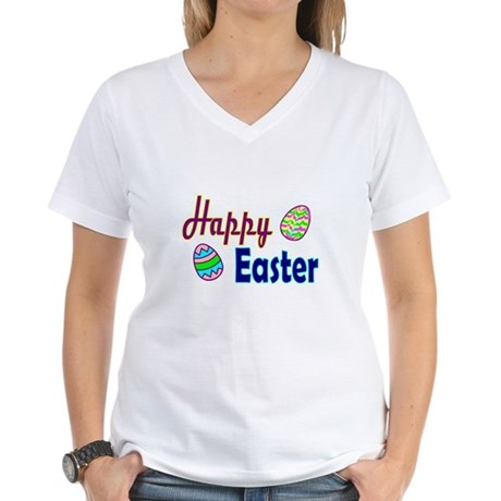 Happy Easter Eggs Women's V-Neck T-Shirt