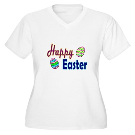Happy Easter Eggs Women's Plus Size V-Neck T-Shirt