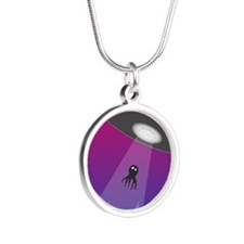 UFO capturing an octopus Silver Round Necklace