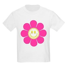 Hot Pink Smiley Flower T-Shirt