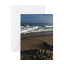 A sandcastle on the beach in Montauk Greeting Card