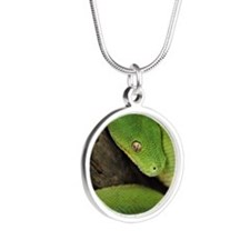 Green Tree Python, northern  Silver Round Necklace