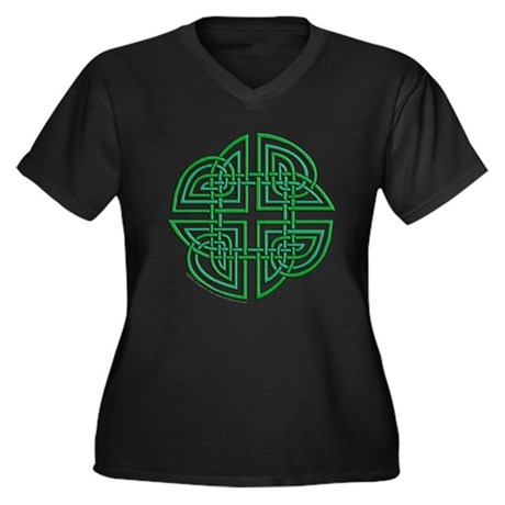 Celtic Four Leaf Clover Women's Plus Size V-Neck D