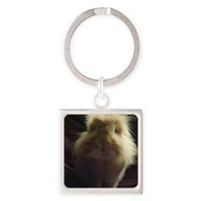Lionhead rabbit on chair Square Keychain